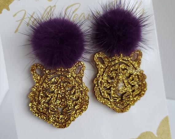 Glitter Tiger Head Dangle Earring