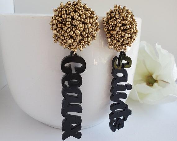 Geaux Saints Dangle Earring