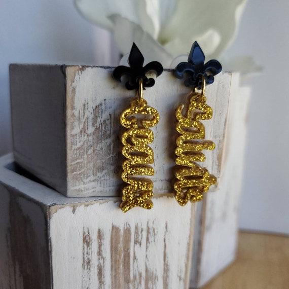 Geaux Saints Dangle in Black & Gold