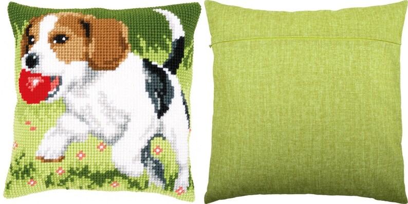 Cross stitch embroidery kit Cross stitch pillow kit Beagle DIY Embroidery pillow kit size 16x 16 Vervaco