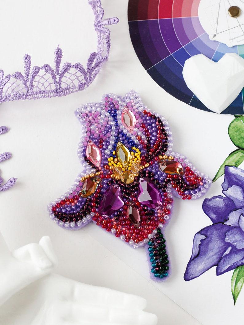 Bead Embroidery DIY Jewelry making kit Needlework beading decoration. Seed beaded brooch Amethyst iris Abris Art