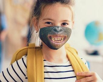 Chimp Face Mask with Filter Pocket, for Kids, for Men, for Women, Washable, Reusable, Adjustable, Spirit Animal, 1 Filter FREE