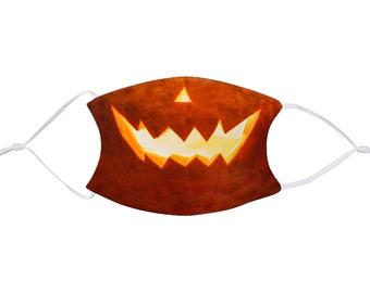 Jack o Lantern, Halloween Mask with filter, Realistic, Child & Adult Size, Washable, Reusable, Adjustable