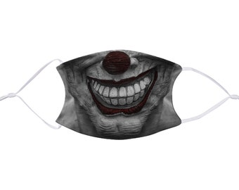 Creepy Clown Halloween Face Mask with Filter, Realistic, Child & Adult Size, Washable, Reusable, Adjustable