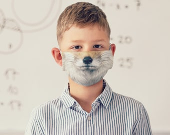 Fox Face Mask with Filter Pocket • for Kids & Adults • Washable • Reusable • Adjustable • Cotton • Filter Included FREE