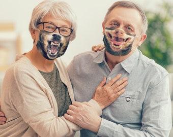2 x MASK BUNDLE, Funny Face Mask with Filter, Kids Mask, Adult Face Mask, Reusable Face Mask, Washable, Adjustable, Free Filter