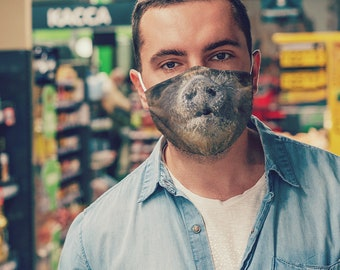 Funny Face Mask with Filter, Pig Face Mask, Kids Mask, Man Face Mask, Woman Face Mask, Adjustable, Cotton, 1 Filter included FREE