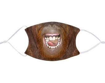 Funny Face Mask, Orangutan Face Mask with Filter Pocket, Kids Mask, Adult Face Mask, Resuable Fabric Face Mask, Adjustable, 1 Filter FREE
