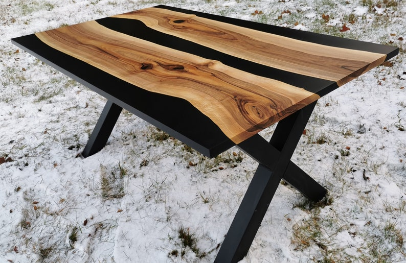 Dining walnut epoxy table, black river table, epoxy Resin River Table, office desk, Natural Walnut Wood Slab