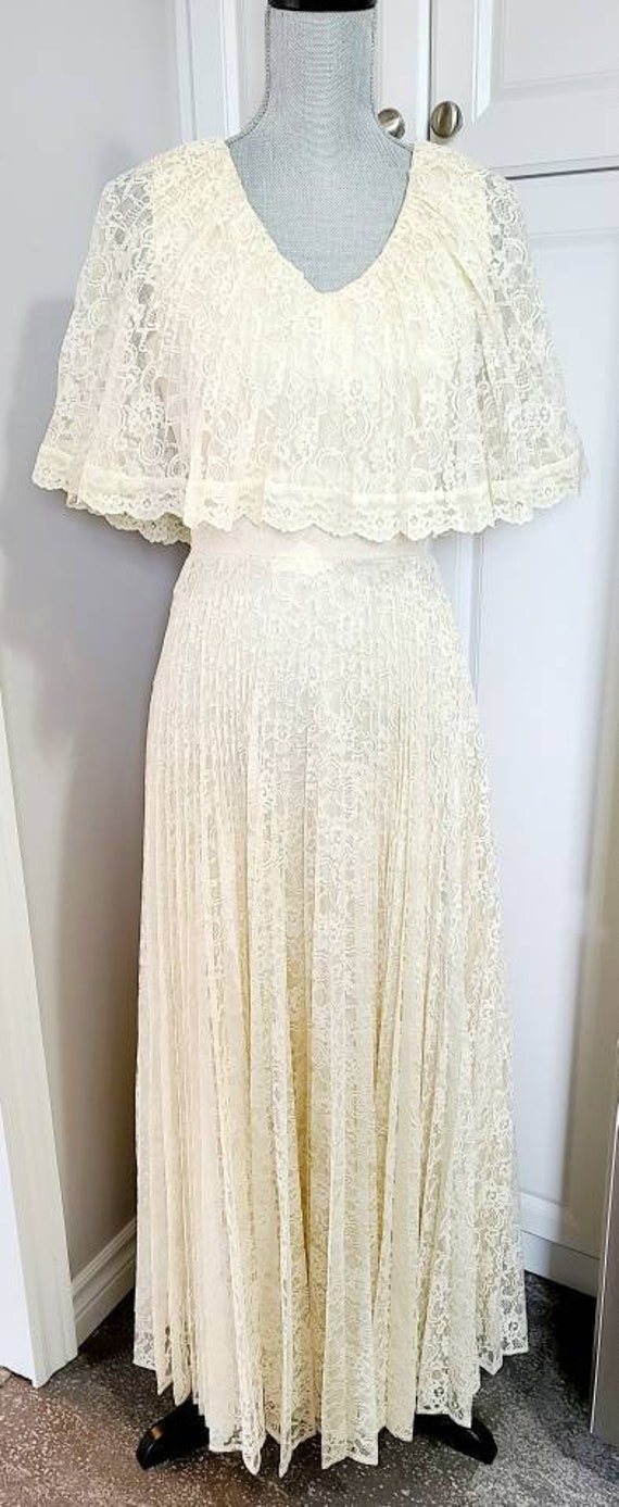 Vintage 70s Lace Wedding Gown