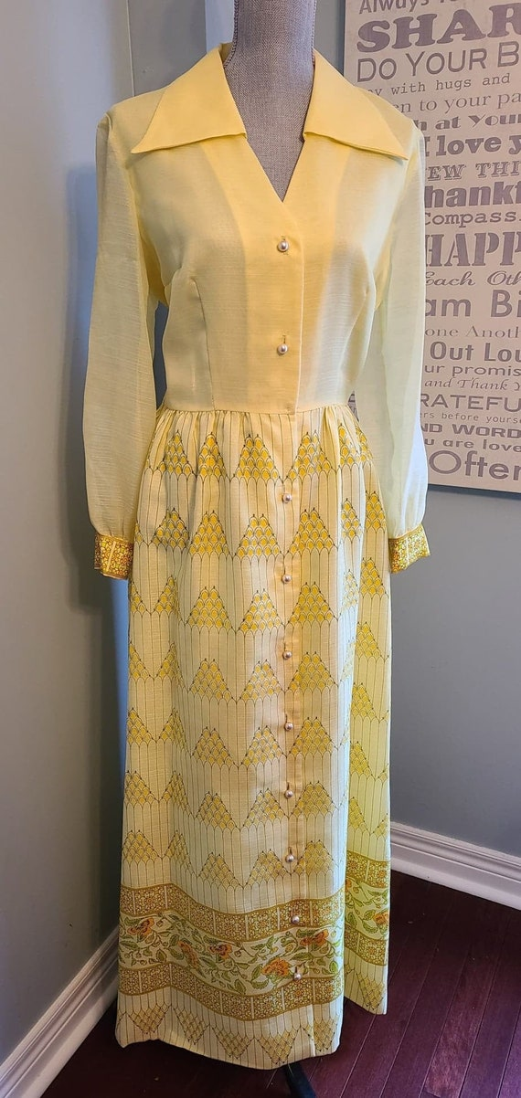 Vintage 70s Alfred Shaheen Dress • Yellow Maxi Dre