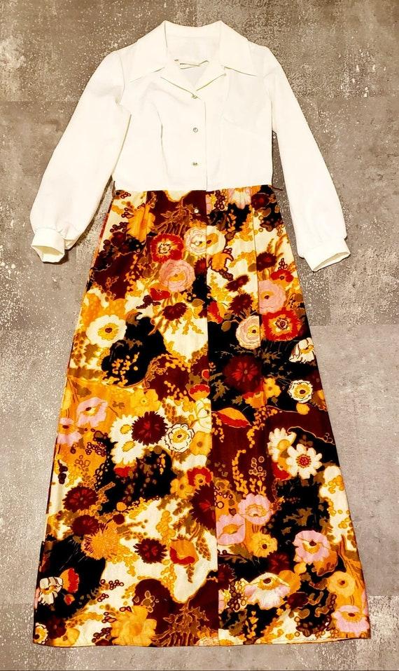 Vintage 70's Floral Sparkle Maxi Dress - Toni Todd