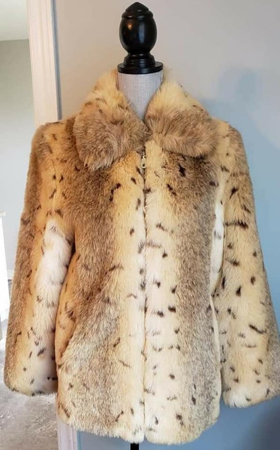 Vintage 90's Animal Print Coat - Faux Fur