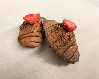 Chocolate Madeleines with Strawberry Couli Filling