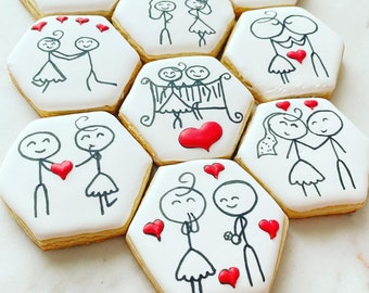 Puzzle cookie set, Wedding, Cookie Puzzle, Valentine's Day cookies, Valentine's Day gift for him/her, Valentine's party, heart gifts