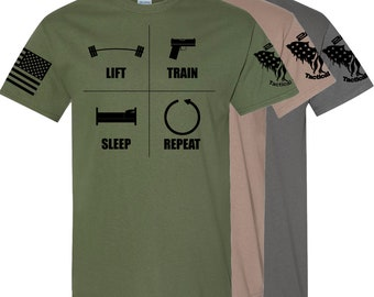 Tactical Review Lift Train Repeat Tee