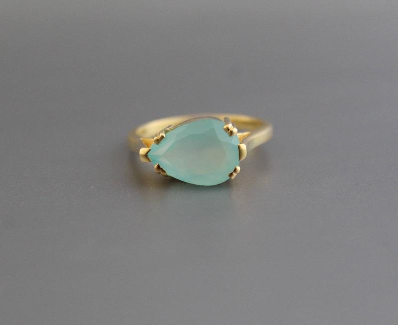 Boho Ring Aqua Chalcedony Ring Handmade Gemstone Ring March Birthstone Aqua Ring Blue Gemstone Stone