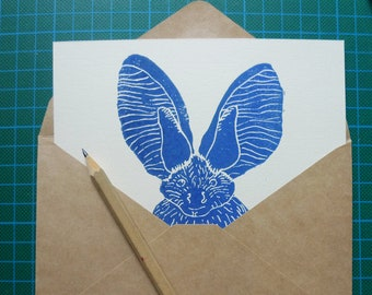 Bat map - linocut, art print
