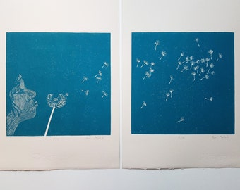 diptych linocut Dandelion - original art print, nature art, poetic illustration