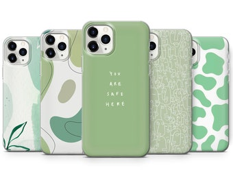 Sage Green Swirl Phone Case Indie Y2K Trippy Cover fit for iPhone 12, 7+, X, XR, 11, Samsung S10+, S20, S21, A51, A70, Huawei P30 Pro F264