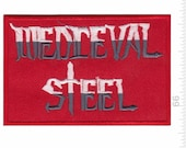 Medieval Steel Metal Band Patch Badge Embroidered Iron on Applique Souvenir Accessory