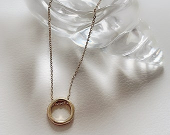Gold Loop Necklace, Simple Gold Necklace, Gold Layering Necklace, Minimal Necklace, Circle Necklace