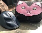 Leather cat, octopus, steampunk or owl shoulder bag