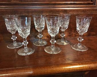 Six Star of EDINBURG, CRYSTAL Liquor glasses made in Scotland