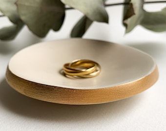 Cream Ivory Gold Dish Minimalist Air Dry Clay Ring Dish French Mother Day Gift Small Clay Jewelry Trinket Storage Made in France