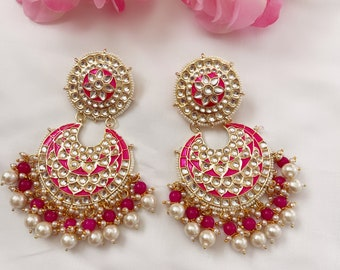 Bollywood Indian Jewelry High Quality Gold Plated Kundan Stones /& Pearls Dropping Crescent Shaped Design Big Chandbalis Dangler Earrings