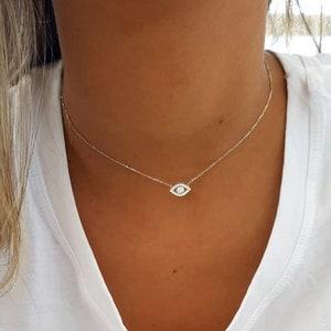 Good Luck Gift for Her Nazar Necklace 6mm White Evil Eye Choker \u2022 Protection