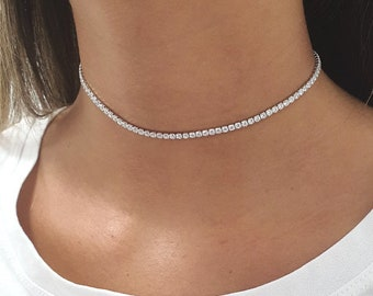 Bridesmaid Tennis Necklace Handmade Necklace Wedding Gifts Tennis Necklace 13.00TCW Round Created Diamond 925 Solid Sterling Silver