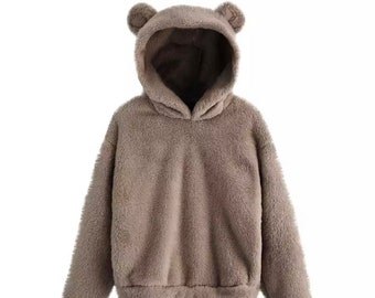 Leezepro Women Hoodies Fluffy Fleece Furry Oversize Women Jumper Sweater Sweatshirt Coat Pullover