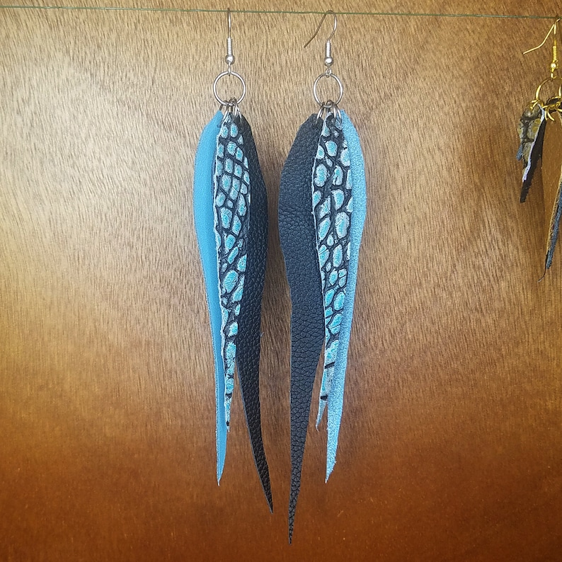 Long Leather Feather Trio Earrings Blue