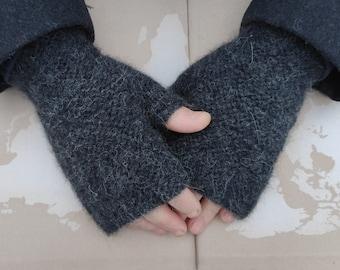 Men's warm alpaca fingerless gloves black