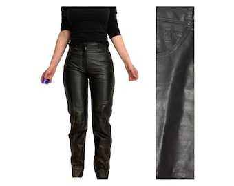 50/% SUMMER SALE Vintage 90s Wilsons Leather Black Real Side Zipper Minimal Rocker Grunge Boot Cut Bottom Motorcycle Pants Sz Large