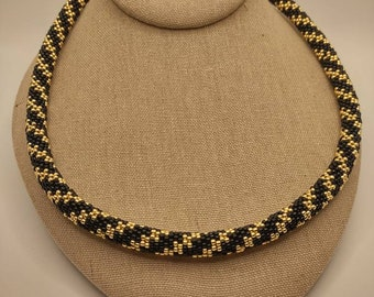 Gold and Black Spiral Beaded Rope Necklace