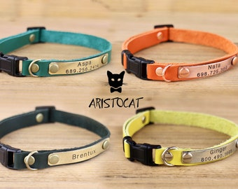Cat collar - Leather cat collar - FREE Nameplate - Breakaway or non breakaway - Personalised collar - Kitten collar - Leather collar