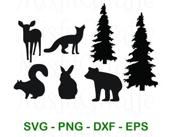 Woodland Creatures / Baby Animals Silhouette SVG Instant Digital Cut File Download