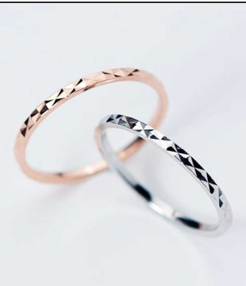 Sterling Silver Rose Gold Plated CZ  Stacking Half Eternity Ring Band Skinny