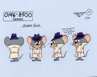 Hanna Barbera Super Snooper and Blabber Mouse Model Sheet Hand Painted Animation Cel Art Reproduction
