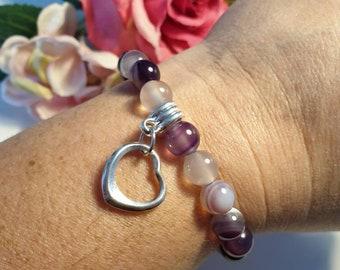 Purple Scottish Agate, Floating Heart Stretch Bracelet