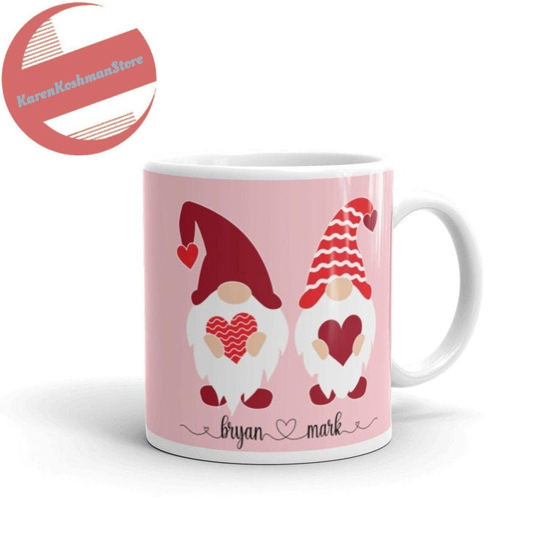 Personalized Gnome Valentine's Day Mug for Gay Couples