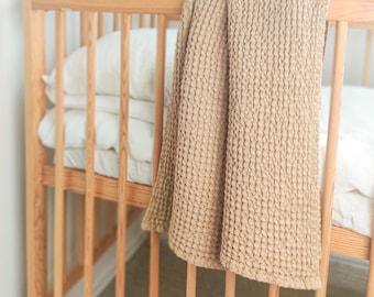 Sand Linen Baby Blanket. Waffle Linen Summer Blanket For Babies. Soft Linen Nursery Blanket
