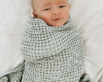 Sage Green Linen Baby Blanket. Waffle Linen Summer Blanket For Babies. Soft Linen Nursery Blanket