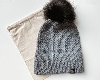 Bulky Etta Hat  Handmade chunky wool fitted hat beanie with faux fur pom pom
