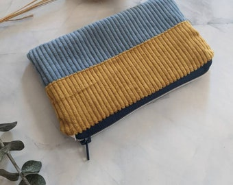 Culture bag made of corduroy fabric, in blue/ochre, with zipper, size 21 x 12 cm, handmade, hand-sewn, gift idea