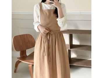 Apron Dress for Women Linen Cotton Comfortable Gift for Her Cross Back Teacher Gift Gardening Open Back Free Shipping