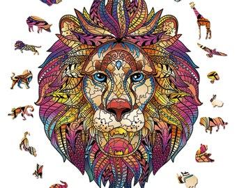 N//R 1000 Pieces of Puzzles-Animal Puzzles-Lions-Cute Lions-Black And white-3D Puzzles-DIY Puzzles-Educational Games-Wooden-Childrens Adult Puzzles-Home Decoration