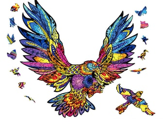 pigpigboss Painting Series Jigsaw Puzzle Toy for Children Animal Wooden Jigsaw Puzzle Flying Eagle Puzzle for Adult Home Decor Art Gift 5.5 x 7.9 inches Eagle Wooden Puzzle Game